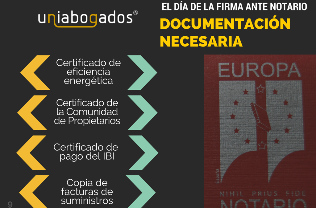 Documentación a entregar en la notaría durante la compraventa